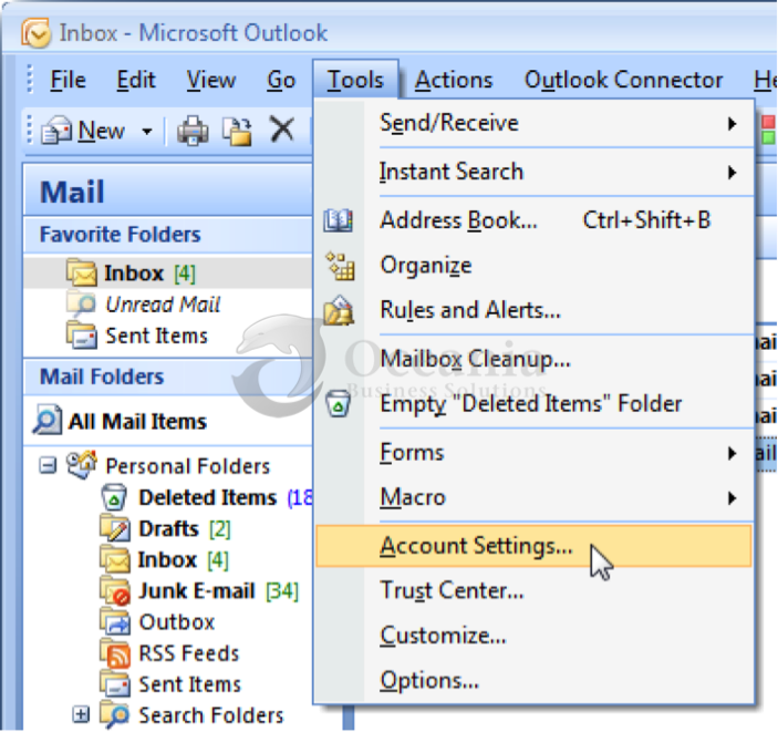 Setting up an email account in Outlook 2007 Fig 1