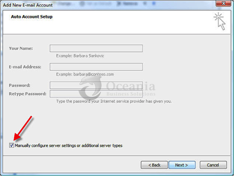 Setting up an email account in Outlook 2007 Fig 4