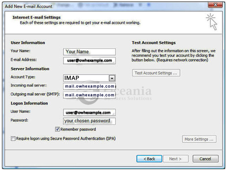 Setting up an email account in Outlook 2007 Fig 5