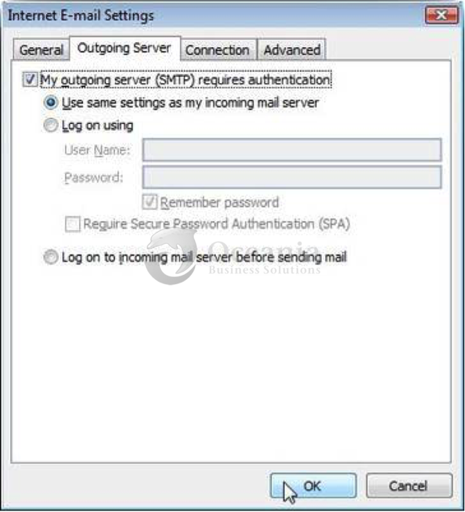 Setting up an email account in Outlook 2007 Fig 6